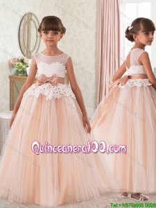 Simple See Through Beaded and Bowknot Laced Little Girl Pageant Dress in Tulle