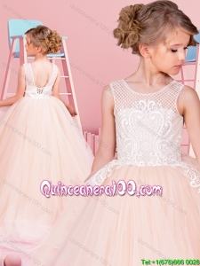 Sweet Puffy Skirt Laced Champagne Little Girl Pageant Dress with Brush Train