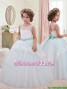 Best Selling Scoop Laced Bowknot Tulle Little Girl Pageant Dress in White