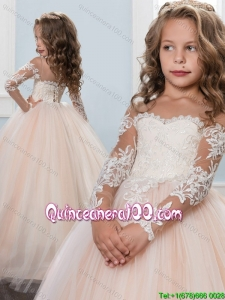 New Arrivals Off the Shoulder Long Sleeves Little Girl Pageant Dress with Brush Train