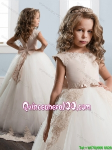 Popular Brush Train Little Girl Pageant Dress with Bowknot and Lace