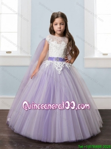Top Seller Belted Laced Short Sleeves Little Girl Pageant Dress with Watteau Train