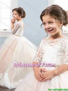 Unique Beaded Decorated Waist and Laced Bodice Little Girl Pageant Dress with Half Sleeves