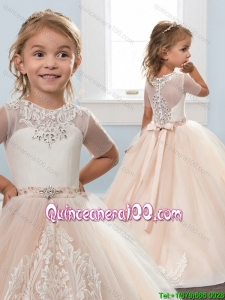 Best Selling Short Sleeves Zipper Up Little Girl Pageant Dress with Brush Train