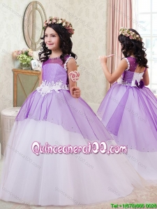 Fashionable Bowknot Handcrafted Flowers Little Girl Pageant Dress in Purple and White