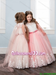 Most Popular Watteau Train Tulle Little Girl Pageant Dress with Belt and Lace