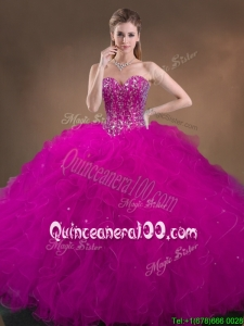 Custom Made Beaded and Ruffled Cheap Quinceanera Dresses in Hot Pink