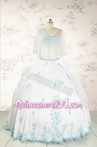 Appliques Pretty Quinceanera Dresses in White for 2015