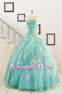 Discount Blue Quinceanera Dresses with Appliques for 2015