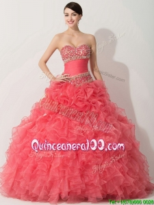 Lovely Princess Coral Red Sweet 16 Dress with Beading and Ruffles