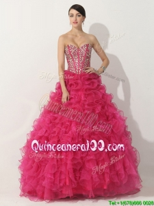 Simple Hot Pink Quinceanera Gown with Beading and Ruffles