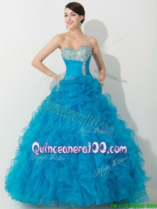 Top Princess Baby Blue Quinceanera Gown with Beading and Ruffles