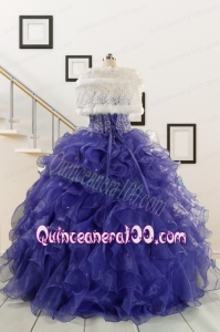 2015 Sweetheart Ruffles Purple Quinceanera Dresses with Wraps