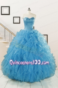 Hot Sell Beaded Quinceanera Dresses Ruffled in Blue