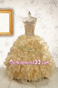 Luxurious Champange Quinceanera Dresses with Beading