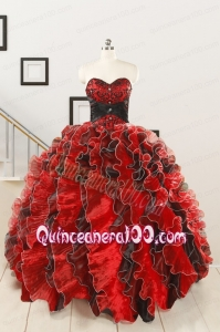 Unique Beaded Sweetheart Organza Quinceanera Dress in Multi-color
