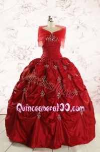 2015 Beautiful Sweetheart Appliques Quinceanera Dresses