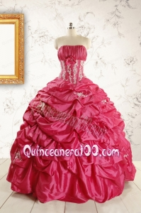 Cheap Appliques Coral Red Quinceanera Dress with Strapless