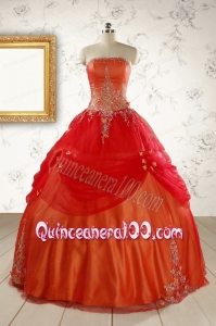 Beautiful Strapless Sweet 16 Dresses with Appliques