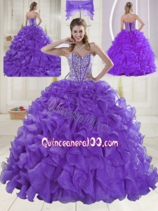 Pretty Sweetheart Brush Train Beading Quinceanera Dresses in Purple