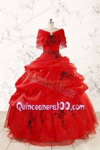 Top Seller Sweetheart Appliques Quinceanera Dress in Red