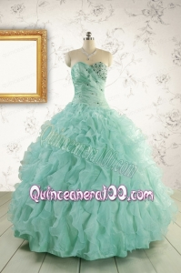 2015 Pretty Sweetheart Beading Quinceanera Dresses in Apple Green