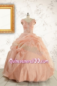 New Style Beading Quinceanera Dresses in Peach For 2015