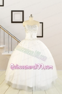 2015 White Elegant Quinceanera Dresses with Beading