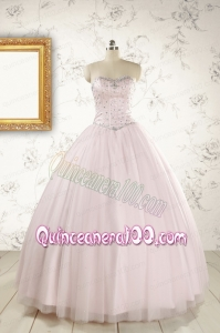 2015 Pretty Beading Light Pink Quinceanera Dresses