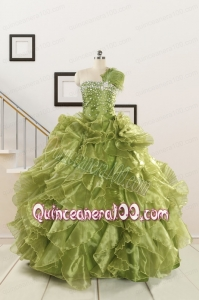 Inexpensive Olive Green Dresses for Quince with Beading and Ruffles