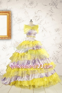Popular Beading Yellow Sweet 15 Dresses with Sweep Train