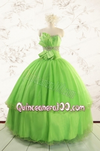 Spring Green Quinceanera Dresses with Beading and Bowknot for 2015 Spring