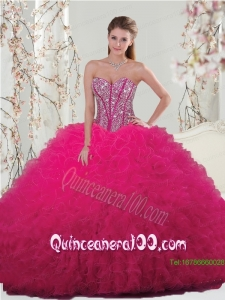 Unique Hot Pink Sweet 15 Dresses with Beading and Ruffles for 2015