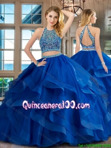 Pretty Beaded and Ruffled Brush Train Quinceanera Dress in Royal Blue