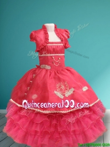 Lovely Spaghetti Straps Ruffled Layers and Applique Little Girl Pageant Dress in Organza and Taffeta