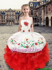 Wonderful Spaghetti Straps Little Girl Pageant Dress with Appliques and Ruffles