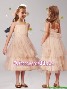 Wonderful Straps Champagne Little Girl Pageant Dress with Appliques and Ruffled Layers
