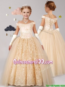 Classical Off the Shoulder Cap Sleeves Champagne Little Girl Pageant Dress with Lace