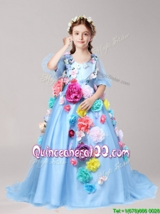 Classical V Neck Half Sleeves Little Girl Pageant Dress with Hand Made Flowers