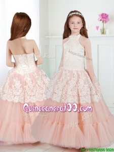 Lovely Halter Top Little Girl Pageant Dress with Beading and Lace