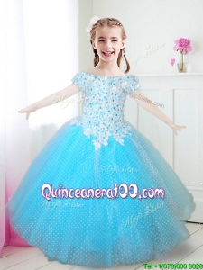New Off the Shoulder Applique and Beaded Little Girl Pageant Dress in Aqua Blue