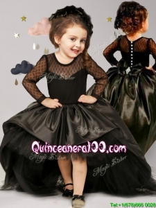 See Through Scoop Long Sleeves Black Little Girl Pageant Dress with Brush Train