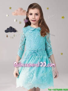 Unique Scoop Laced and Sashed Little Girl Pageant Dress in Aqua Blue