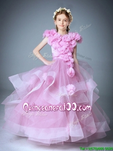 Wonderful Scoop Cap Sleeves Little Girl Pageant Dress with Hand Made Flowers