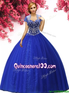 Affordable Royal Blue Tulle Quinceanera Dress with Big Puffy