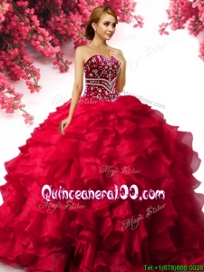 Best Selling Beaded and Ruffled Red Quinceanera Dress in Organza