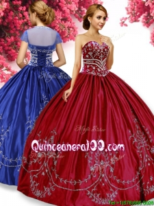 Classical Wine Red Quinceanera Dress with Beading and Embroidery