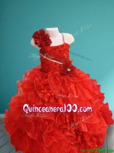 Discount Asymmetrical Neckline Red Little Girl Pageant Dress with Hand Made Flowers and Ruffles