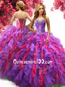 Elegant Two Tone Quinceanera Dress with Beading and Ruffles