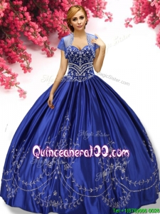 Latest Beaded and Embroideried Taffeta Quinceanera Dress in Royal Blue